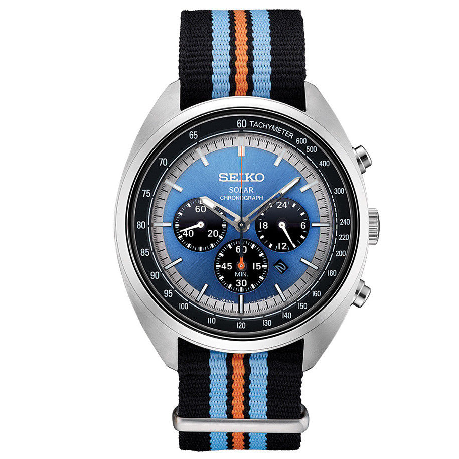 นาฬิกาผู้ชาย Seiko รุ่น SSC667, Solar Recraft Chronograph Blue Dial Nylon Strap