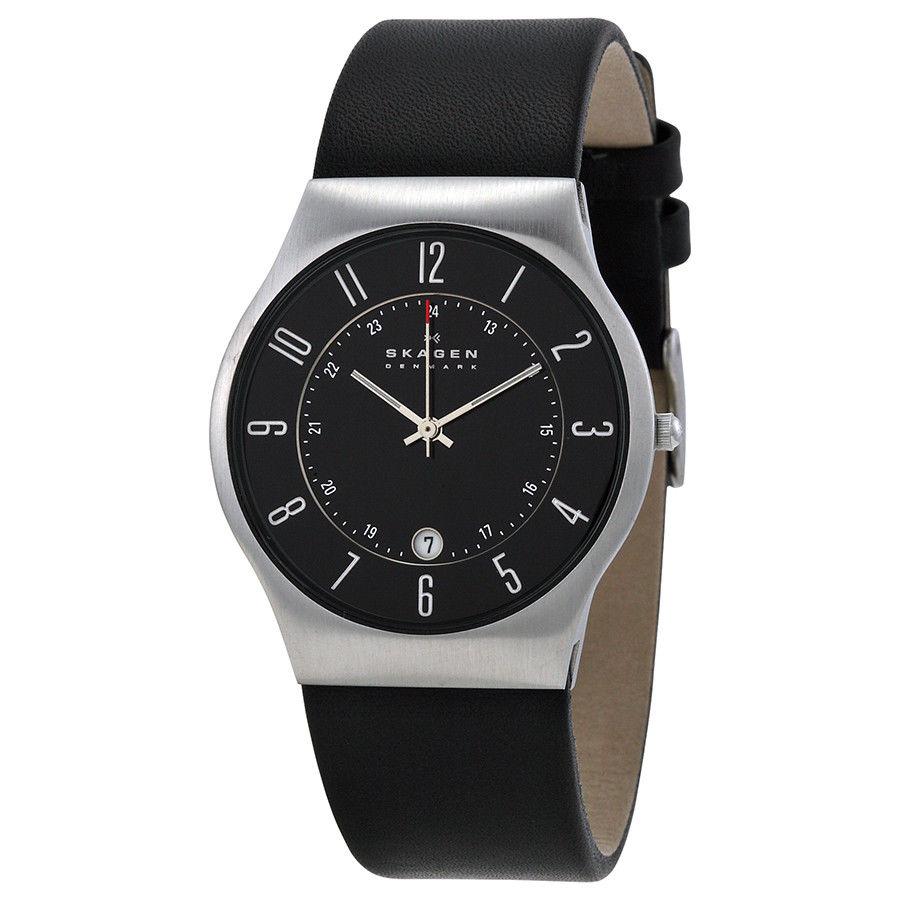 นาฬิกาผู้ชาย Skagen รุ่น 233XXLSLB, Grenen Classic Black Dial Leather Men's Watch