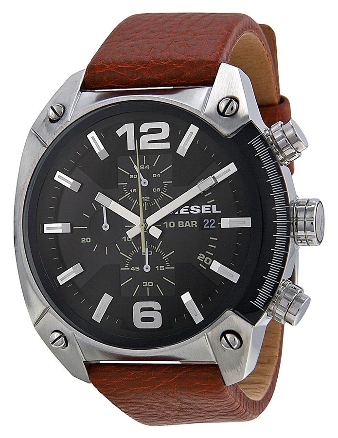 นาฬิกาผู้ชาย Diesel รุ่น DZ4296, Overflow Chroonograph Black Dial Brown Leather Men's Watch