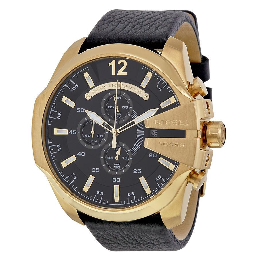 นาฬิกาผู้ชาย Diesel รุ่น DZ4344, Mega Chief Black Leather