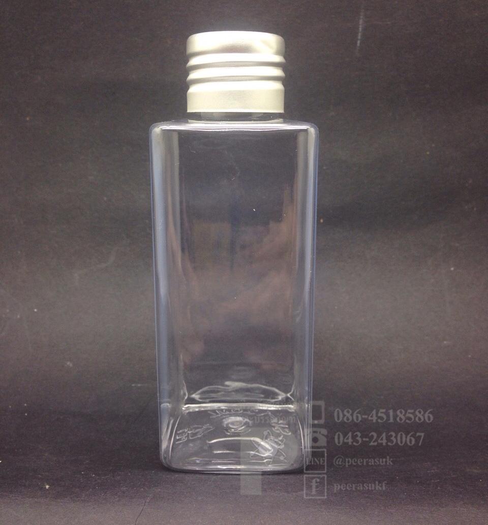 SB120 ml ใส+จุกรู+ฝาเกลียวสีเงิน แพคละ 10 ชิ้น