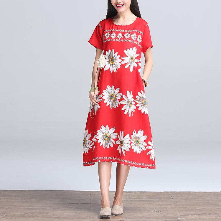 ชุดคลุมท้อง แขนสั้นสีแดงลายดอกไม้ ทั้งชุด ทรงใส่สบายไม่ร้อน L,XL
