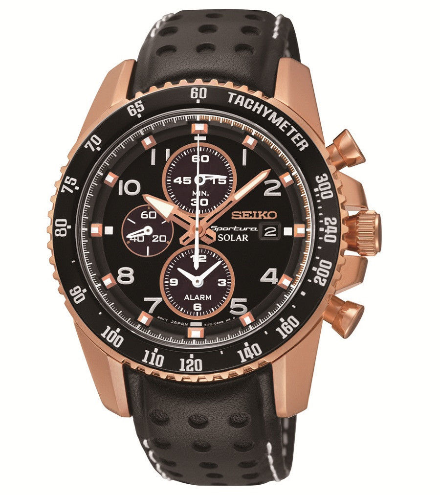 นาฬิกาผู้ชาย Seiko รุ่น SSC274, Sportura Solar Chrono Rose Gold