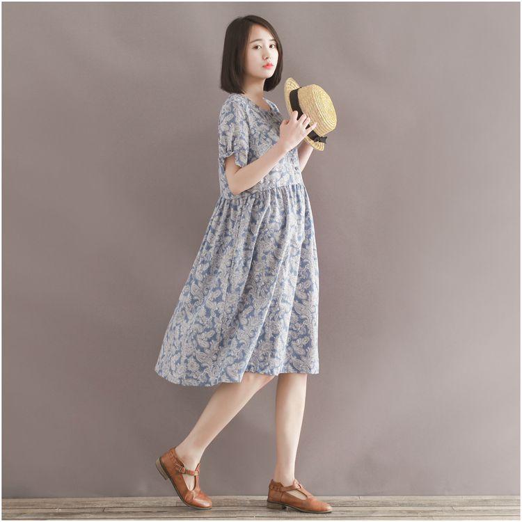 ชุดคลุมท้อง ลายวิเทจ ผ้าชีฟอง น่ารัก ใส่บาย มีซับใน M,L,XL,XXL