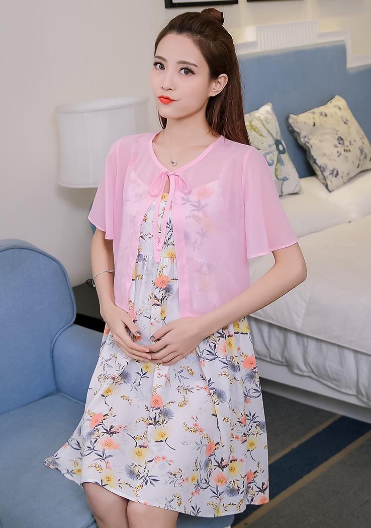 เดรสคนท้องแฟชั่น ทรงเกาหลี ผ้าชีฟองลายดอกไม้น่ารัก มาพร้อมเสื้อคลุมซีทรูแขนระบาย M L XL XXL