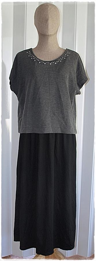 เดรส ลำลอง เสื้อแขนสั้น สีเทา กระโปรง สีดำ