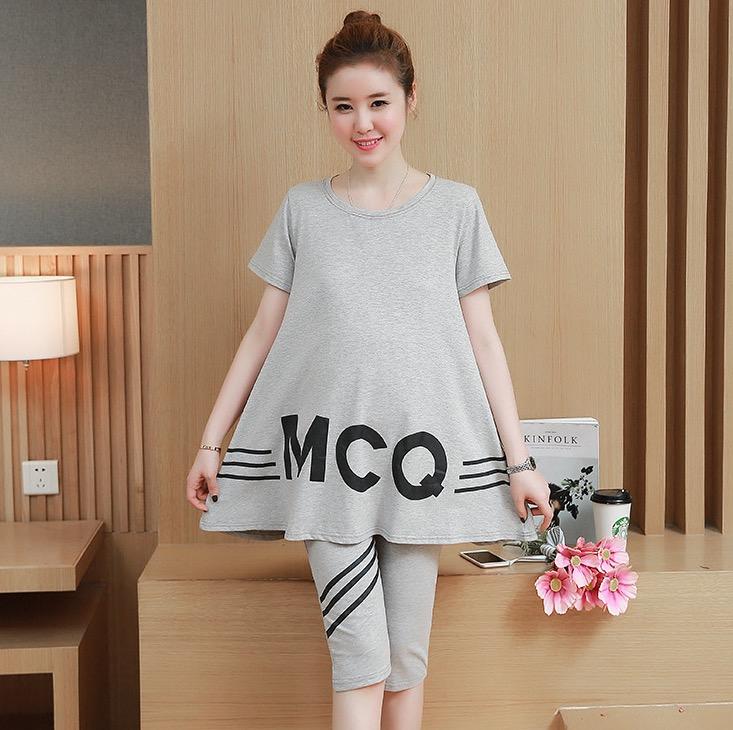 ชุดเสื้อ+กางเกงคนท้อง แบบ4ส่วน เสื้อทรงบาน ลายน่ารัก กางเกงมีสายปรับขนาดภรรภ์ M,L,XL,XXL