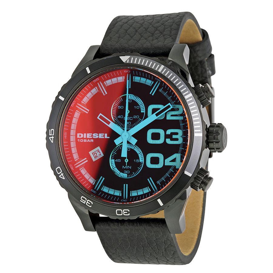 นาฬิกาผู้ชาย Diesel รุ่น DZ4311, Double Down Series Black Leather