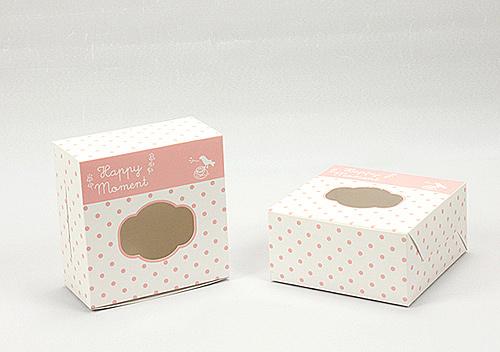กล่องขนม กล่องสแน็ค หน้าต่าง สีชมพู ลายจุด
