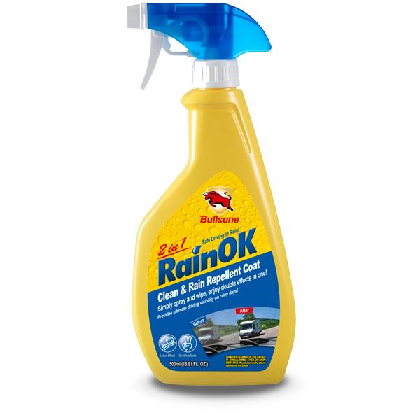 Bullsone RAINOK CLEAN & RAIN REPELLENT 2 IN 1 ผลิตภัณฑ์ทำความสะอาดกระจกรถยนต์ทั้งด้านหน้า, ด้านหลังและด้านข้าง, กระจกมองข้างและเคลือบผิวกันฝน