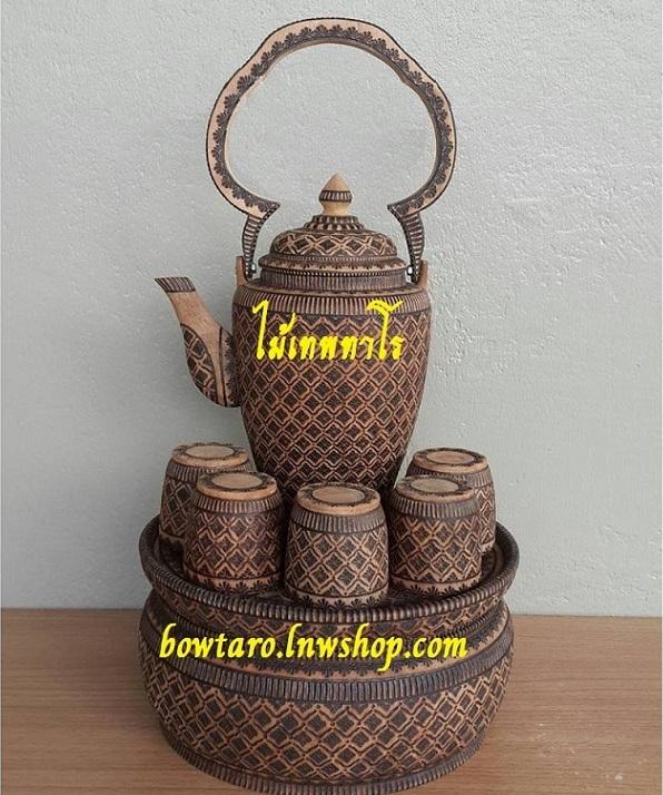 กาน้ำชาไม้เทพทาโรทรงสูงเขียนลาย