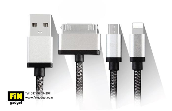 สายชาร์จ Earldom 3 in 1 iPhone 4+iPhone 6+Micro USB