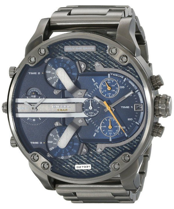 นาฬิกาผู้ชาย Diesel รุ่น DZ7331, Mr. Daddy 2.0 Blue Dial Black Ion-Plated
