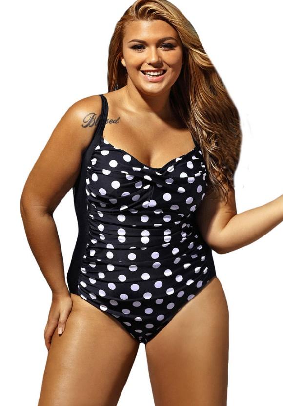 ชุดว่ายน้ำไซส์ใหญ่พร้อมส่ง :ชุดว่ายน้ำคนอ้วนวันพีชสีดำแต่งลายจุดสีขาวแบบเก๋ sexy มากๆจ้า:รอบอก44-52นิ้ว เอว40-48นิ้ว สะโพก44-54นิ้วจ้า