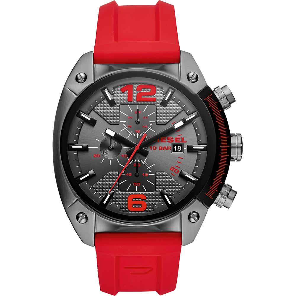 นาฬิกาผู้ชาย Diesel รุ่น DZ4481, Overflow Red Silicone Strap Chronograph Men's Watch