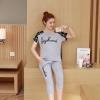 ชุดเสื้อคลุมท้อง+กางเกง 5ส่วน ลายสวย มีผ้าพยุงครรภ์ ปรับขนาดครรภ์ได้ สีเทา M,L,XL,XXL