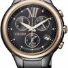 นาฬิกาข้อมือผู้หญิง Citizen Eco-Drive รุ่น FB1317-53E, Multi Dial Chronograph Black IP Sapphire