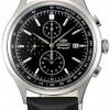 นาฬิกาข้อมือผู้ชาย Orient รุ่น STT0V003B0, Monterey Chronograph Quartz Japan Black Leather