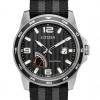 นาฬิกาผู้ชาย Citizen Eco-Drive รุ่น AW7030-06E, PRT Power Reserve Black Dial Nylon Strap Men's Watch