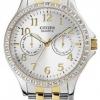 นาฬิกาข้อมือผู้หญิง Citizen รุ่น ED8114-57A, Quartz Swarovski Multi Dial Calendar Elegant