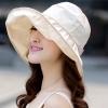 หมวกแฟชั่นพร้อมส่ง : หมวกปีกบานกว้างกันแดดสีครีม พักเก็บง่ายแบบสวยน่ารักๆจ้า