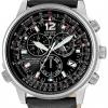 นาฬิกาข้อมือผู้ชาย Citizen Eco-Drive รุ่น AS4020-36E, Nighthawk Chronograph Euro Radio Sapphire Leather