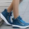 (พร้อมส่ง) รองเท้าผ้าใบหนังเงาหุ้มข้อพื้นลาดผูกเชือก