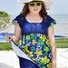 Swimsuit Bigsize พร้อมส่ง : ชุดแฟชั่นว่ายน้ำสีน้ำเงินแต่งลายดอกไม้สีเหลืองสีสันสดใส กางเกงขาสั้นใส่ด้านในน่ารักมากๆจ้า:รอบอก42-54นิ้ว เอว36-48นิ้ว สะโพก42-54นิ้วจ้า