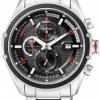 นาฬิกาข้อมือผู้ชาย Citizen Eco-Drive รุ่น CA0120-51E, 100m Black & Red Sport Chronograph Watch
