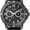 นาฬิกาผู้ชาย Citizen รุ่น AG8315-04E, Quartz Black Muti-Dial WR 30m Leather Sports