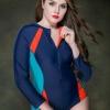ชุดว่ายน้ำวันพีช ไซส์ใหญ่แบบสปอร์ตพร้อมส่ง :ชุดว่ายน้ำคนอ้วนสีน้ำเงินแต่งสีส้มและเขียวน้ำทะเลแขนยาว. ซิปหน้าแบบสวย sexyมากๆจ้า:รอบอก36-44นิ้ว เอว34-44นิ้ว สะโพก38-46นิ้ว