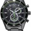 นาฬิกาข้อมือผู้ชาย Citizen Eco-Drive รุ่น AT2115-52E, Black Ion 100m Chronograph Sports