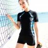 ชุดว่ายน้ำทูพีช พร้อมส่ง :ชุดว่ายน้ำคนอ้วนสีดำแขนสั้นแต่งลายสีฟ้า กางเกงขาสั้นสีดำ .สีสันสดใสแบบสวยน่ารักมากๆจ้า:รอบอก38-46นิ้ว เอว36-46นิ้ว สะโพก40-50นิ้ว