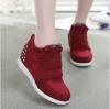 รองเท้าผ้าใบเสริมสูงตีนตุ๊กแกประดับเพรช