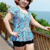 Swimsuit Bigsize พร้อมส่ง : ชุดแฟชั่นว่ายน้ำสีฟ้าแต่งลายกราฟฟิก กางเกงขาสั้นใส่ด้านในน่ารักมากๆจ้า:รอบอก38-48นิ้ว เอว36-46นิ้ว สะโพก40-50นิ้วจ้า