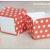 ถ้วยกระดาษ สี่เหลี่ยม ถ้วยเค้ก ชิฟฟ่อน ฮอกไกโด สีแดง ลายจุด