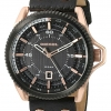 นาฬิกาผู้ชาย Diesel รุ่น DZ1754, Rollcage Rose Gold Plated Black Leather Strap Watch