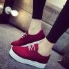 รองเท้าผ้าใบพื้นหนา3-5 cm มีเชือกผูก