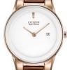 นาฬิกาข้อมือผู้หญิง Citizen Eco-Drive รุ่น GA1053-01A, Axiom White Leather 30m Elegant