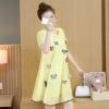 ชุดคลุมท้อง ผ้าชีฟอง ประดับด้วยผีเสื้อตามตัว เริ่ดมาก มีซับในทั้งชุด เหลือง M,L,XL,XXL