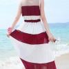 เสื้อผ้าแฟชั่นผู้หญิงพร้อมส่ง : เดรสสีแดงแฟชั่น แต่งลายทางสีขาว กระโปรงพริ้วๆ น่ารักมากๆจ้า