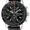 นาฬิกาข้อมือผู้ชาย Seiko รุ่น SSC009P3, Flightmaster Solar Chronograph Leather Pilots