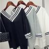 เสื้อผ้าแฟชั่นผู้หญิงพร้อมส่ง : เสื้อแฟชั่นสีเทา,ดำ,ขาว แต่งลายทางขาวดำ เก๋ๆดีจ้า