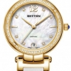 นาฬิกาผู้หญิง Rhythm รุ่น L1504L03, Diamond Sapphire Gold Leather L1504L 03, L1504L-03