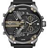 นาฬิกาผู้ชาย Diesel รุ่น DZ7348, Mr. Daddy 2.0 Chronograph 4 Time Zone Black Leather Men'S Watch