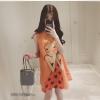 ชุดคนท้อง ผ้าชีฟอง สีส้ม แขนกุด ลายเด็กน้อย L,XL
