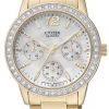 นาฬิกาข้อมือผู้หญิง Citizen รุ่น ED8092-58D, Quartz Elegant Swarovski Crystal Multi Dial Gold Tone