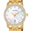 นาฬิกาผู้หญิง Citizen รุ่น EU6032-51D, Mother Of Pearl Swarovski Gold Tone