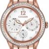 นาฬิกาข้อมือผู้หญิง Citizen Eco-Drive รุ่น FD2013-50A, Silhouette Swarovski Crystal Elegant Watch