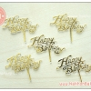 ป้ายปักหน้าเค้ก Happy birthday สีทอง พลาสติกใส เล็ก